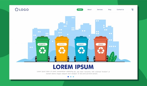 Abfallwirtschaft landing page illustration template
