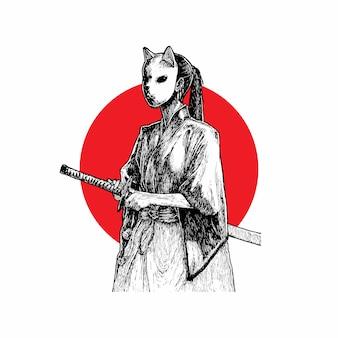 Abgedeckter samurai-mädchen-hand gezeichneter illustrations-vektor