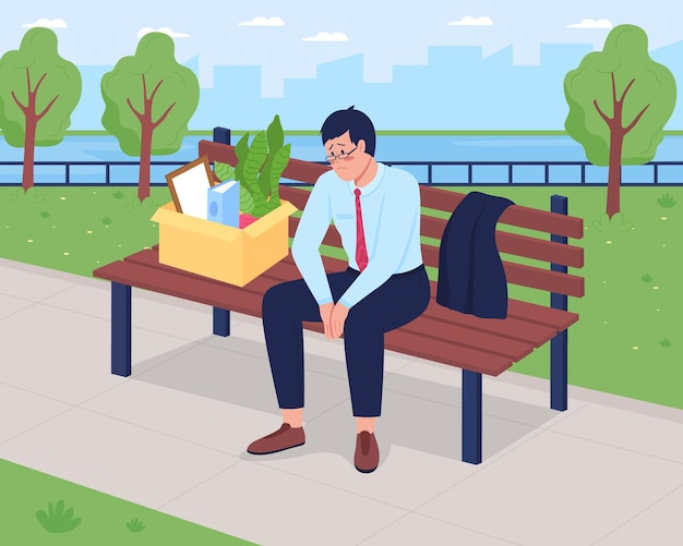 Abgefeuerte flache illustration des depressiven mannes. entlassener arbeiter sitzt auf bank mit pappkarton