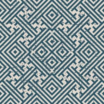 Abgenutztes antikes nahtloses muster mit quadratischem maßwerk-spiralrahmen