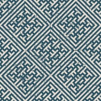 Abgenutztes antikes nahtloses muster mit quadratischem maßwerkrahmen