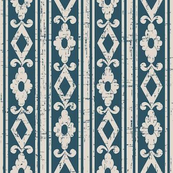 Abgenutztes antikes nahtloses muster mit quadratischer blumenlinie