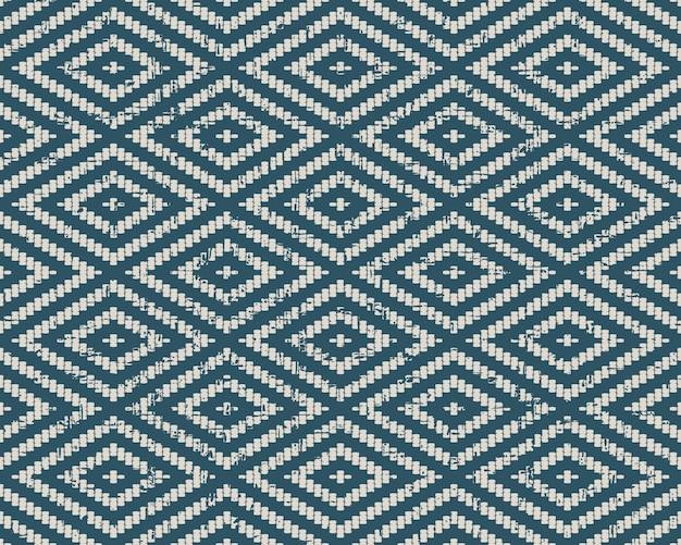 Abgenutztes antikes nahtloses muster mit stitch square diamond line