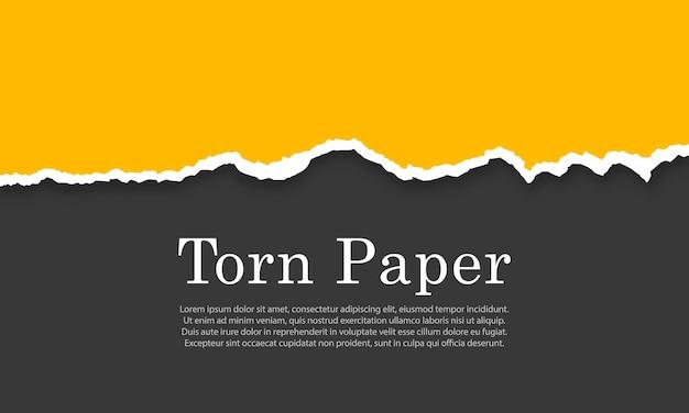 Abgerissene zerrissene papierstreifen beschädigte kartonränder