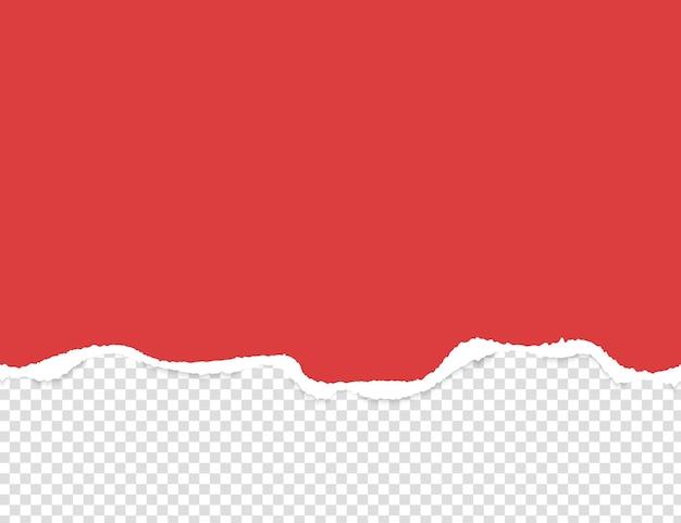 Abgerissenes, zerrissenes stück horizontales rotes papier mit weichem schatten