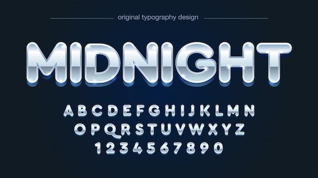 Abgerundete silberne chrom-großbuchstaben-typografie