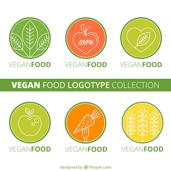 Abgerundete veganes essen logos