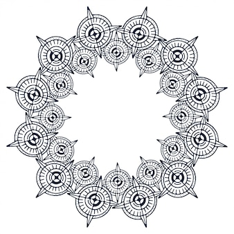 Abgerundeter vektorrahmen. abstrakter dekorativer kreisrahmen.
