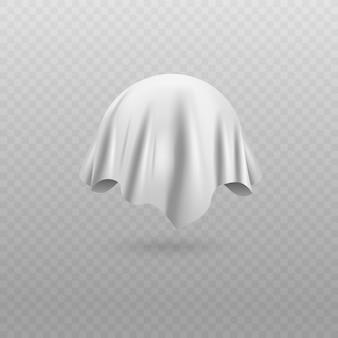 Abgerundetes objekt oder kugel bedeckt mit realistischer illustration des weißen seidentuchs oder des vorhangs auf weißem hintergrund. überraschende abdeckung für die präsentation.