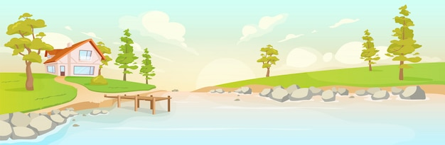 Abgeschiedenes haus am flussufer flache farbvektorillustration. sommersonnenaufgang in der 2d-karikaturlandschaft des dorfes. landschaft bei sonnenuntergang. ökotourismus.