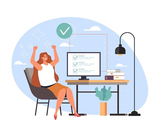Abgeschlossene aufgabe arbeit erledigt und glückliche frau arbeiter geschäftssekretär, cartoon-illustration