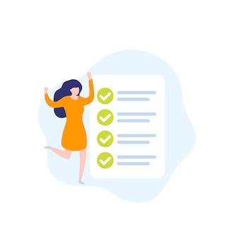 Abgeschlossene aufgabe, aufgabenliste, frau und checkliste