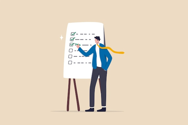 Abgeschlossene checkliste, abschluss von projektaufgaben oder abschluss der arbeit, projektmanagement oder prozessplankonzept, intelligenter geschäftsmann mit stift, um das als abgeschlossen markierte kontrollkästchen der projektliste zu überprüfen.