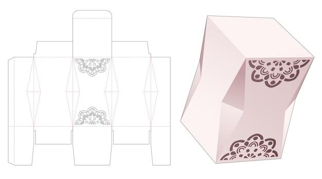Abgeschrägte geschenkbox mit schablonen-mandala-stanzschablone
