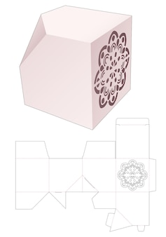 Abgeschrägte quadratische schachtel mit schablonen-mandala-stanzschablone
