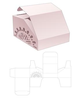 Abgeschrägte schachtel mit schablonierter mandala-stanzschablone