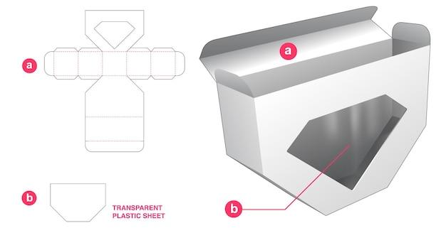 Abgeschrägter kasten unten und rautenförmiges fenster mit transparenter plastikfolien-stanzschablone