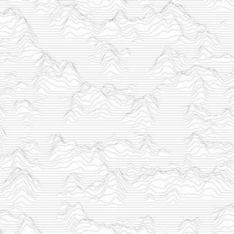 Abgestreifter hintergrund mit den gewellten linien, die berge bilden