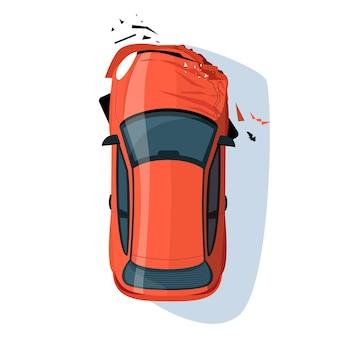 Abgestürzte auto-stoßstange halb flach rgb-farbvektorillustration. autounfall. kollision auf der straße. transportversicherung beanspruchen. rote limousine isoliert cartoon-objekt draufsicht auf weißem hintergrund
