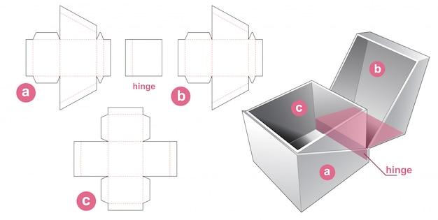 Abgewinkelte manschettenbox gestanzte schablonendesign