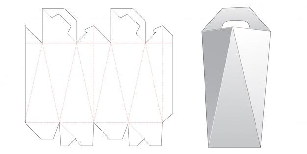Abgewinkelte seitenbox mit griff gestanzte schablonendesign