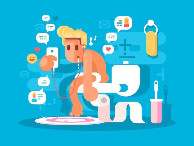Abhängigkeit von gadgets. kerl, der mit telefon auf toilette sitzt vektor-illustration