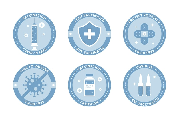 Abholung der flachen impfkampagnenabzeichen