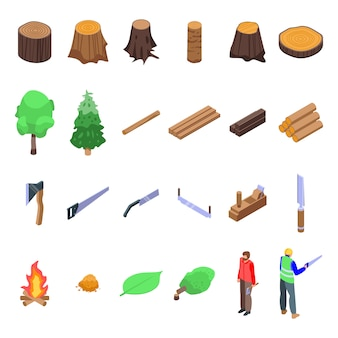 Abholzungssymbole eingestellt, isometrischer stil