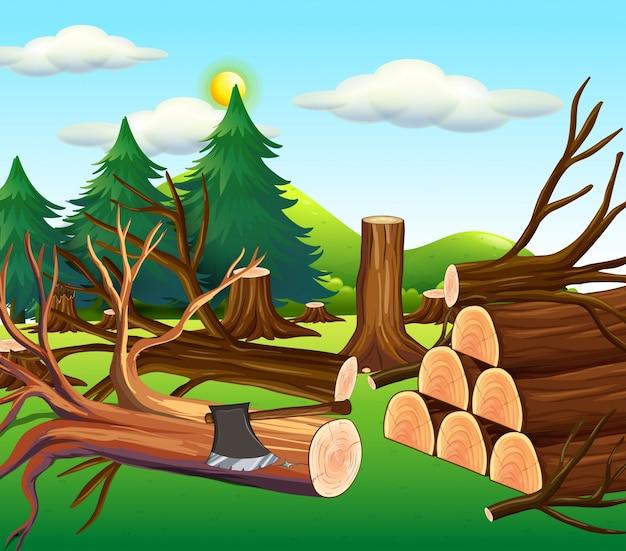 Abholzungsszene mit gehackten hölzern