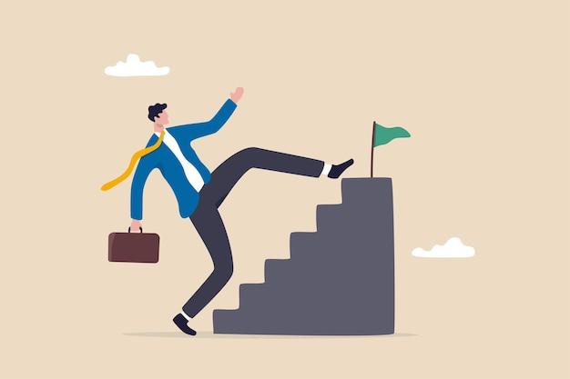 Abkürzung oder fortschritt in der karriereentwicklung oder arbeit, um das ziel zu erreichen, schritt überspringen, um das ziel zu erreichen oder anfängerfehler, indem sie sich auf den harten weg zum erfolgskonzept bemühen, geschäftsmann überspringen treppenstufen, um das ziel zu erreichen.