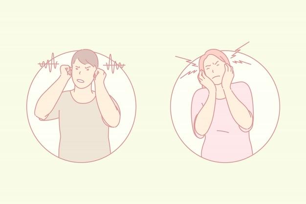 Ablehnung des zuhörens, ohren schließen, hörproblemkonzept
