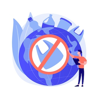 Ablehnung von nicht zusammensetzbaren produkten. zeichentrickfigur des ökologieaktivisten. speichern sie die idee der erde