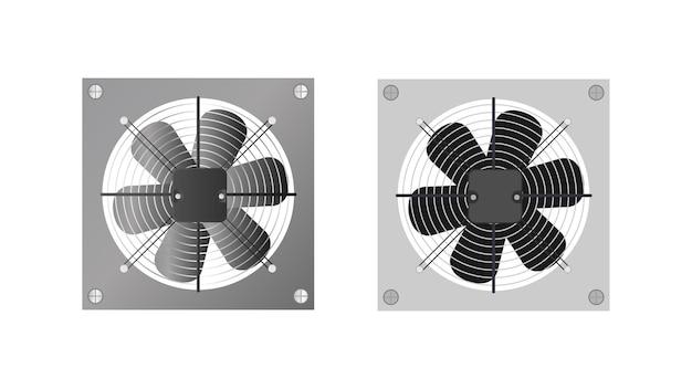 Abluftventilator im realistischen stil. lüfter, kühler für den computer. isoliert. vektor.