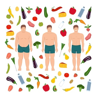 Abnehmen mann person vorher und nachher gesundes essen sport und fitness körpertransformation