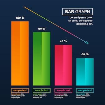 Abnehmendes diagramm balkendiagramm wirtschaftsdruck finanzielles problem statistische infografik