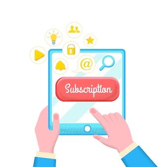 Abonnement cartoon wohnung. e-mail-marketing fördert loyalität und umsatzwachstum. hände halten elektronisches gerät. kettenbuchstaben einbeziehen. vektor-illustration.