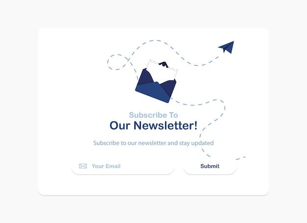Abonnement der newsletter-popup-banner-vorlage in flachem design