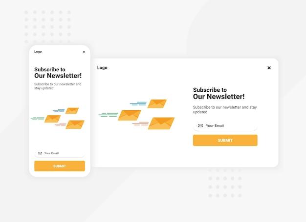 Abonnement für newsletter-popup-banner-vorlage für die mobile und desktop-version