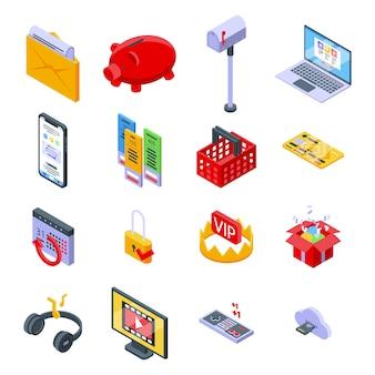 Abonnementsymbole festgelegt. isometrischer satz von abonnementvektorikonen für webdesign lokalisiert auf leerraum