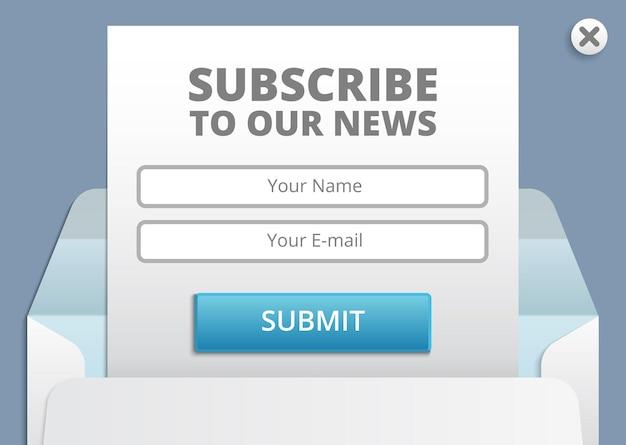 Abonnieren sie die web- und app-formularvorlage für newsletter
