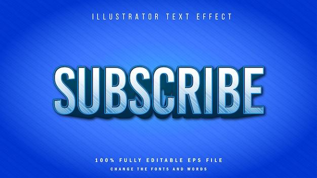 Abonnieren sie typografisches design mit 3d-texteffekt