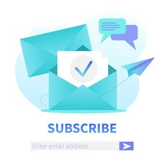 Abonnieren sie unsere newsletter square web banner vorlage. geöffneter umschlag mit neuem brief. e-mail-marketing, registrierungsbanner für die zustellung von korrespondenzdiensten.