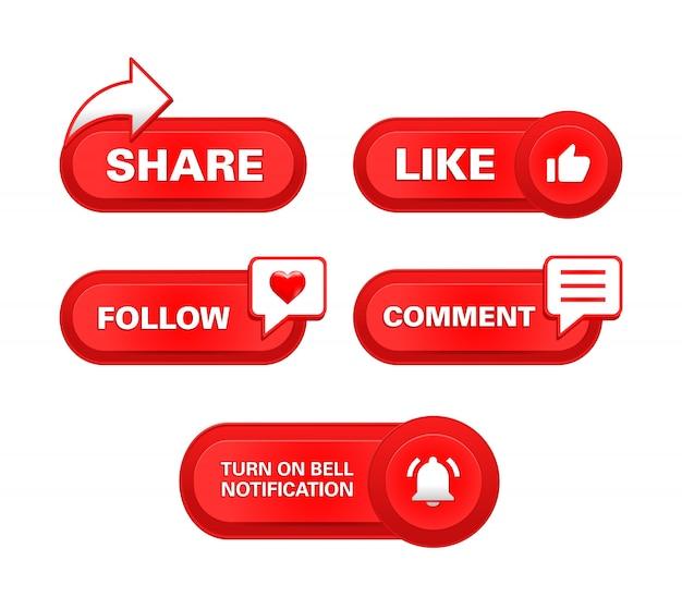 Abonnieren teilen wie follow kommentar schaltfläche benachrichtigung glocke realistisch