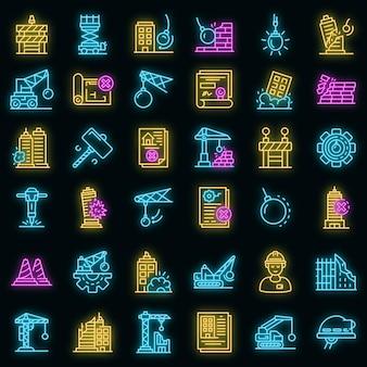 Abrissarbeiten symbole gesetzt. umrisse von abbrucharbeiten vektorsymbole neonfarbe auf schwarz