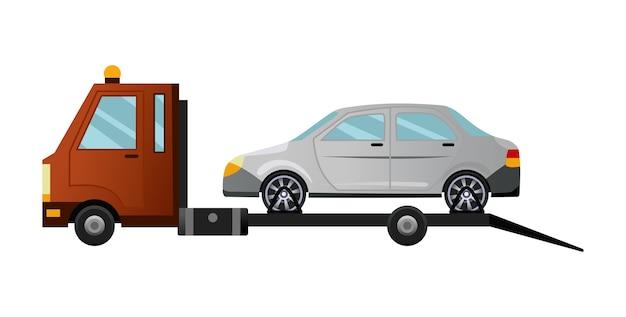 Abschleppfahrzeug. kühler flacher abschleppwagen mit kaputtem auto. hilfsfahrzeug für die reparatur von straßenfahrzeugen mit beschädigtem oder geborgenem auto.