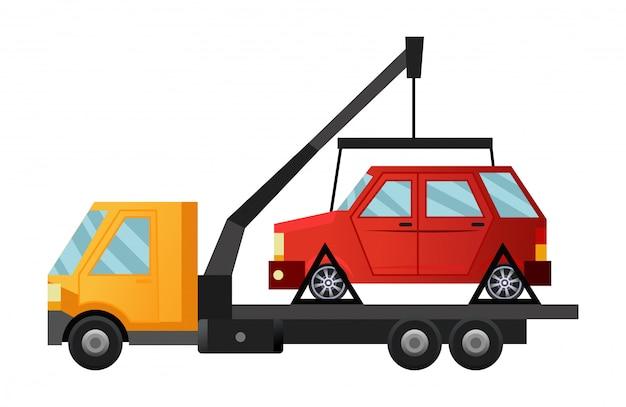 Abschleppfahrzeug. kühler flacher abschleppwagen mit kaputtem auto. straßenfahrzeugreparatur-servicefahrzeug mit beschädigtem