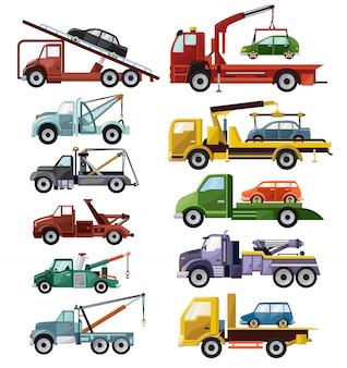 Abschleppwagen abschleppwagen lkw fahrzeugtransport abschlepphilfe auf straße illustration satz von abgeschleppten autotransport lokalisiert auf weißem hintergrund