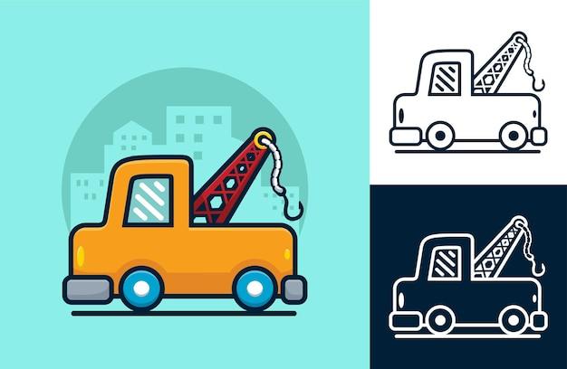 Abschleppwagen auf gebäudehintergrund. karikaturillustration im flachen ikonenstil