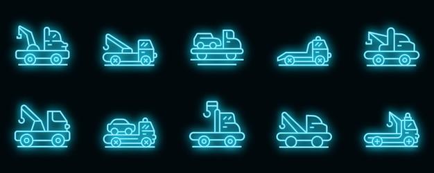 Abschleppwagen icons set. umrisse von abschleppwagen-vektorsymbolen neonfarbe auf schwarz