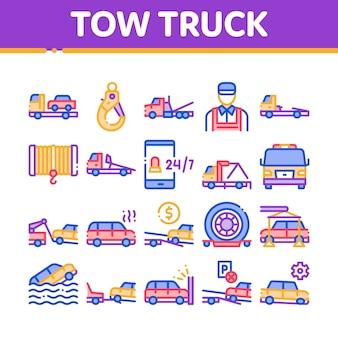 Abschleppwagen transport sammlung icons set